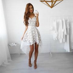 Summer Fashion Lady's Dresses Lace Dresses s white