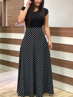 New Spring and Autumn Printed Coloured Dresses of 2018 s Short sleeve - black spots