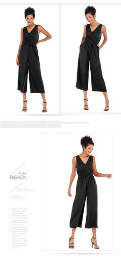 New Ladies V-collar, waist, back and shoulder straps, pure Chiffon pants, loose nine-minute pants m black