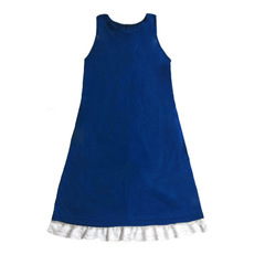 Ladies lace lace stitching round collar Short Sleeve Dress s blue