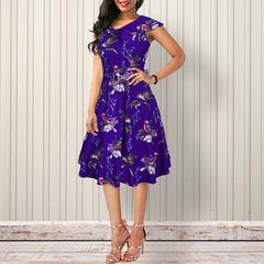Spring and Summer Women's Printed Shoulder Peng Skirt Retro Dress s blue
