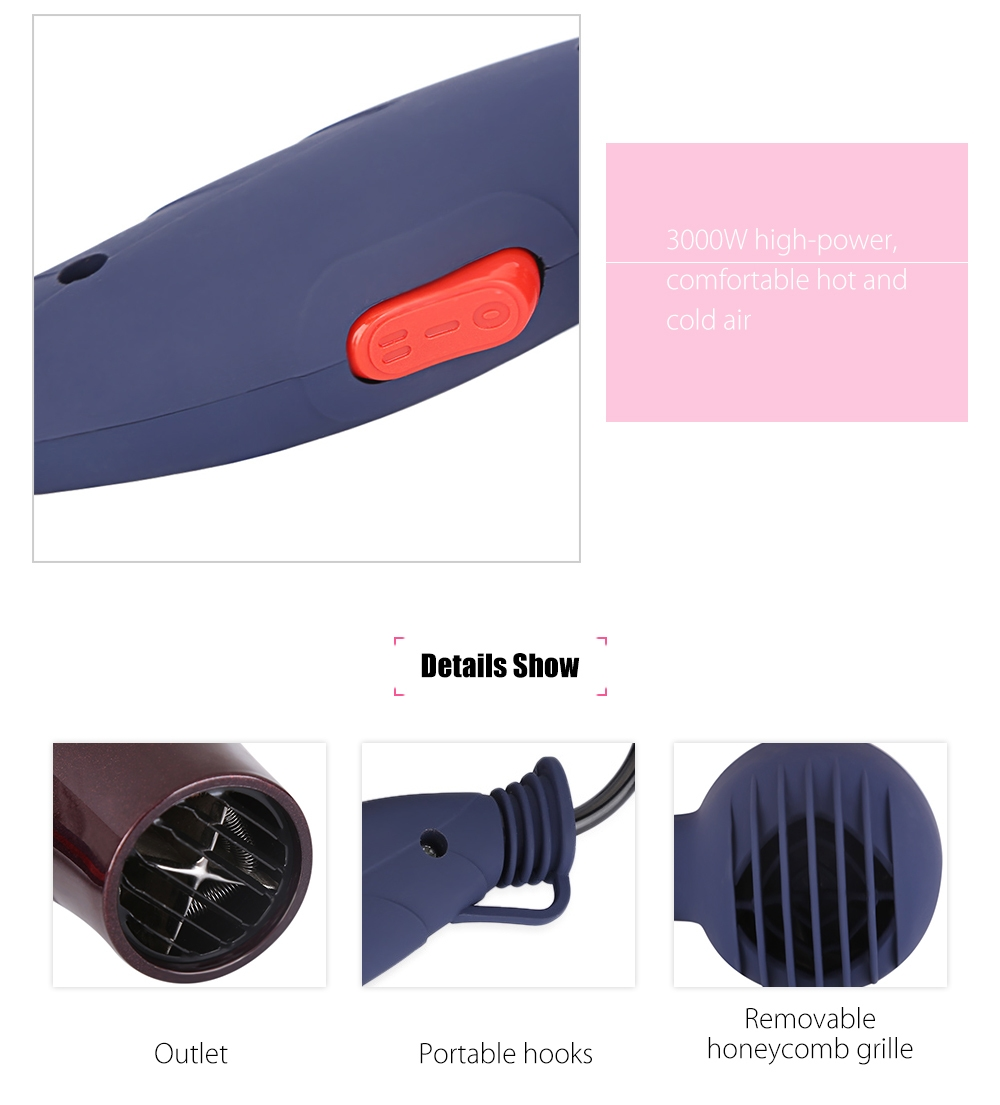 Portable Mini Hair Blower Collecting Nozzle Styling Foldable Traveller Household Electric Hair Dryer Coffee 7
