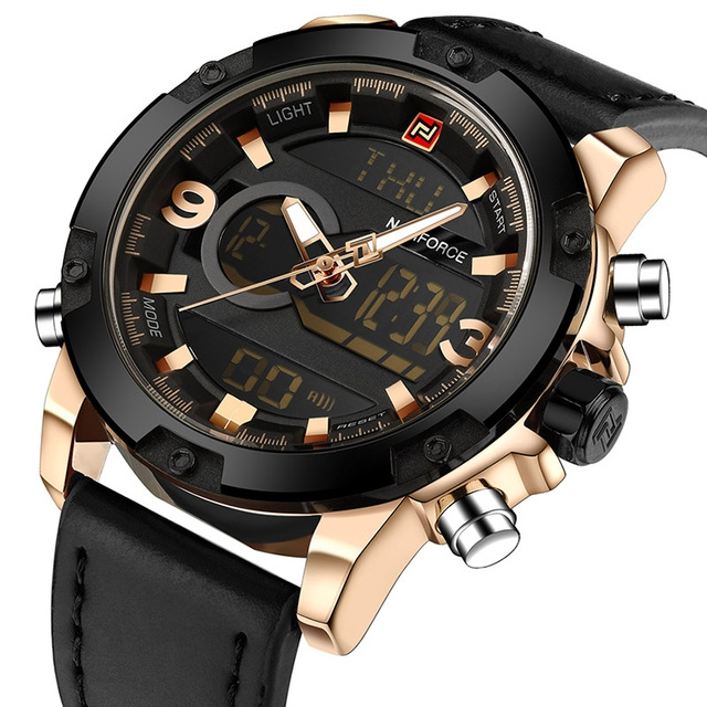 NAVIFORCE New Men Waterproof Multifunction Luminous Outdoor Sports Watches Men's Army Military Watch Gold Black one size