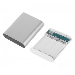10400mAh DIY Power Bank Battery Box Case Kit Universal USB External Backup Battery Charger Powerbank silver 10400mAh
