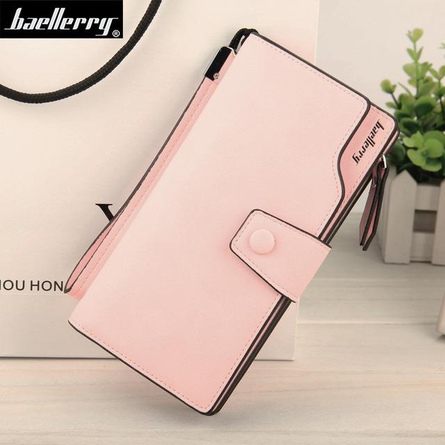 2019 New Wallet Split Leather Wallets Female Long Wallet Women Zipper Purse Money Bag pink one size