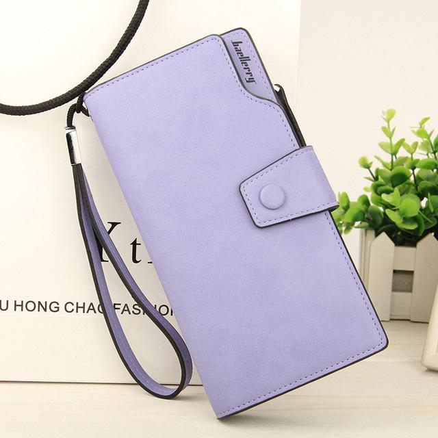 2018 New Wallet Split Leather Wallets Female Long Wallet Women Zipper Purse Money Bag purple one size
