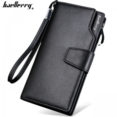 Top Quality leather long wallet men zipper wallets men women money bag pocket mltifunction black one size