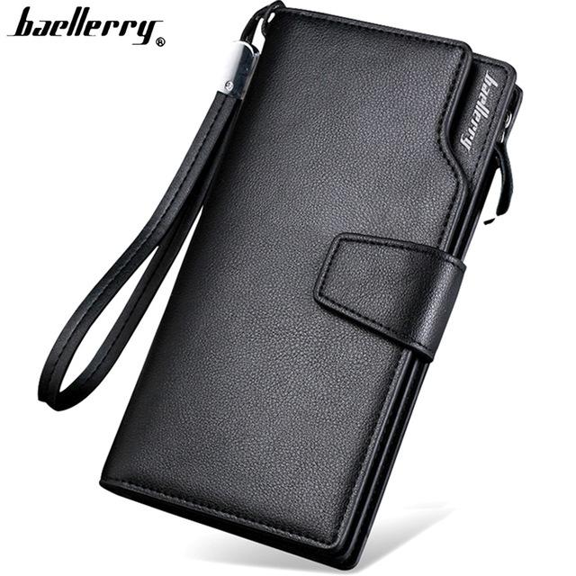 Top Quality leather long wallet men zipper wallets men women money bag pocket mltifunction black one size