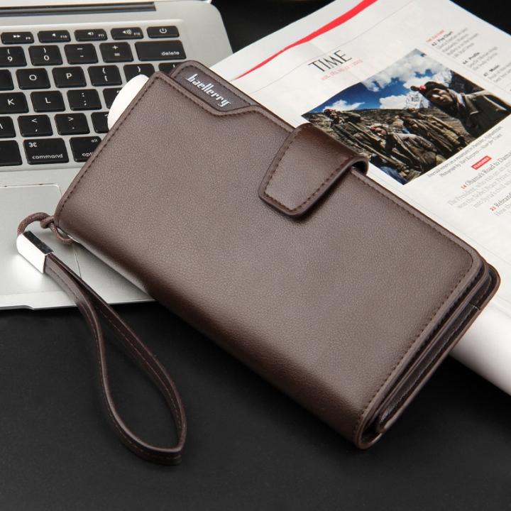 Top Quality leather long wallet men zipper wallets men women money bag pocket mltifunction brown one size