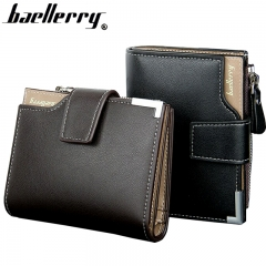 Leather Multifunction Men Wallets Zipper Pocket Trifold Purse Card Holder Hasp Wallet Zipper Purse black one size
