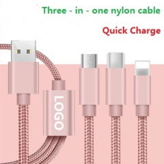 Apple android phone universal high-speed fast three-in-one charging cable gold 120cm