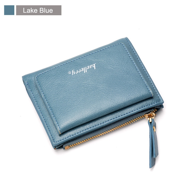 Luxury Soft Leather Women Hasp Wallet Fashion Tri-Folds Clutch For Girls Coin Purse Card Holders lake blue one size