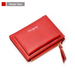 Luxury Soft Leather Women Hasp Wallet Fashion Tri-Folds Clutch For Girls Coin Purse Card Holders noble red one size