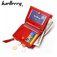 Women Wallet Small Purse Female Wallet Credit card slots zipper coin pocket Leather Wallet noble red one size