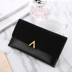 2019 New Female Wallet PU Leather Women Wallets Ladies Long Design Hasp Zipper Purses Clutch black one size