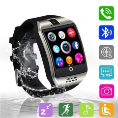 Q18 Smart watch with Touch Screen camera TF card Bluetooth smartwatch for Android IOS Phone silver black one size