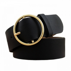 Hot Fashion Women Lady Vintage Boho Metal Leather Double Buckle Waist Belt Waistband Black
