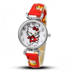 Hello Kitty Cartoon Watches Kid Girls Leather Straps Wristwatch Children Hellokitty Quartz Watch 4# 21cm