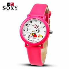 Hello Kitty Cartoon Watches Kid Girls Leather Straps Wristwatch Children Hellokitty Quartz Watch 1# 21cm