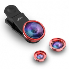 Universal Fish Eye 3in1 + Clip Fisheye Smartphone Camera Lens Wide Angle Macro Mobile Phone Lents red for all smart phone