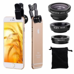 Universal Fish Eye 3in1 + Clip Fisheye Smartphone Camera Lens Wide Angle Macro Mobile Phone Lents black for all smart phone