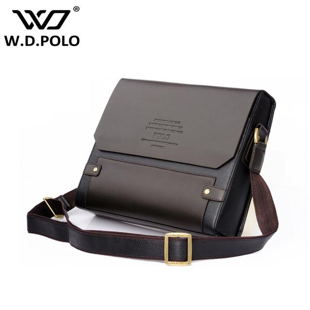 WDPOLO Men Pu Leather shoulder bag gentle men business hand bags ... ba16f5a9204ac