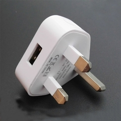 USB Smart Phone Charging Plug UK Standard Charger 1pcs Gb 3-pin charging head USB output 5V White white normal