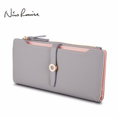 Lovely Leather Long Women Wallet Fashion Girls Change Clasp Purse Money Coin Card Holders wallets grey 19*2*10cm