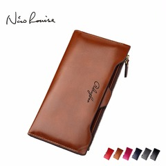 2018 New leather Women Wallet Portable Multifunction Long Wallets, coin purses card holder carteras dark brown 19*10*2.5cm