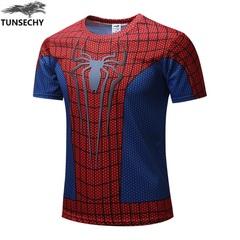 Printed T-shirt summer new short sleeved T-shirt men's superman spiderman half sleeved men's wear 1# XS Polyester