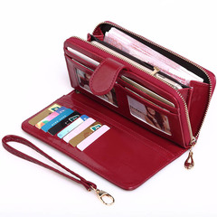 Baellerry Yellow Wallet Women Top Quality Leather Wallet Long Big Capacity Card Holders Purse red one size