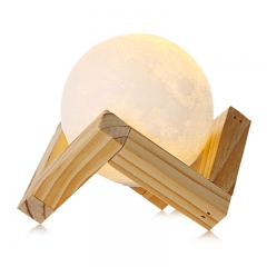 Rechargeable 3D Print Moon Lamp 2 Color Change Touch Switch Bedroom Bookcase Night Light Home Decor yellow 18cm 0.5w