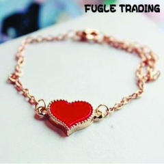FUGLE TRADING Best gift for Lovers Heart-shaped gold plated bracelet cuff gold as picture