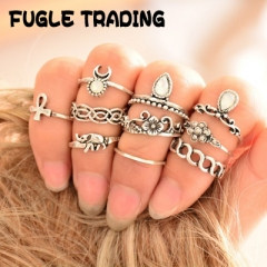 FUGLE TRADING 10PC/Set Women Vintage Knuckle Rings Tribal Ethnic Hippie  Jewelry Set Gift gold as picture