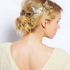 FUGLE TRADING 1 PCS Butterfly Hairpin Fashion Lady Hair Accessories Lovely Headdress Gold Bobby Pin gold as picture