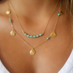 Jewellery   Multilayer wafer and turquoise pendant necklace Golden One size