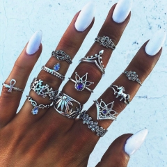 Jewelry Retro Ethnic Style Ring  13 Pieces Set silver one size
