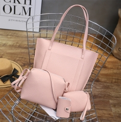 Fashion Handbags new female bag   single shoulder bag handbag  4PCS/ sets A pink one size