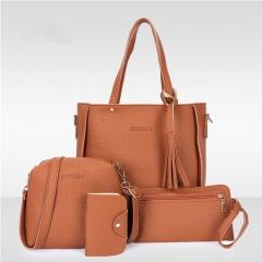 Women Bag   Tassel Handbag Purse Ladies PU Leather Crossbody Bag 4Pcs/Set brown One size