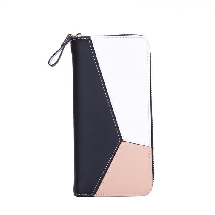 Novel fashion design simple high-capacity zipper wallet black one size