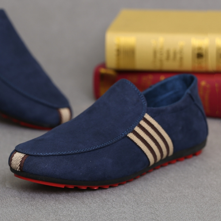 Fashion Quality Men Casual Loafers Rubber Flat Sole Men Shoe Blue 45