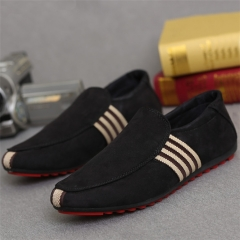 Fashion Quality Men Casual Loafers Rubber Flat Sole Men Shoe Black 39