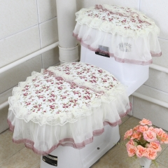 European and American fashion lace toilet seat 3Pcs/Set Lily As picture
