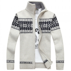 Men's Slim-fit collar jacket Sweaters   Male Cardigan Sweaters coat  Cardigans white m 48kg-52kg