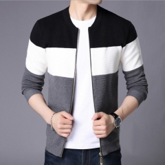 Fashion Men's Sweater Cardigan Sweater Slim Casual Business Sweater Jacket coat Black m