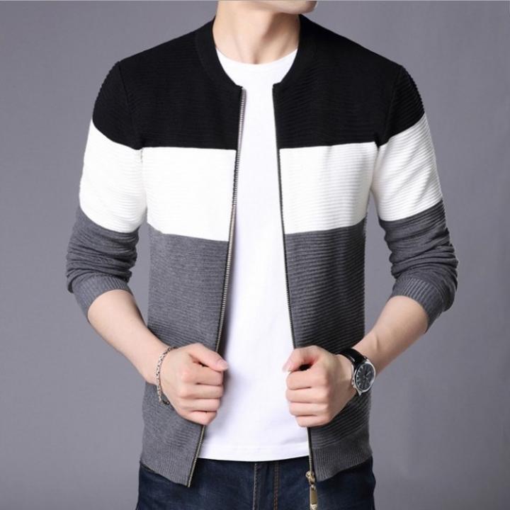 Fashion Men's Sweater Cardigan Sweater Slim Casual Business Sweater Jacket coat Black xl