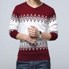 Fashion men's sweater new V-neck shirt red xl