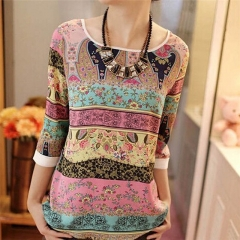 New fashion women's chiffon shirt tops seven-quarter sleeves Blue + pink xl