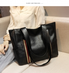 Europe And America New Female Bag   Single Shoulder Bag  Handbag   Big Bag black one size