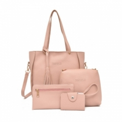 Women Bag   Tassel Handbag Purse Ladies PU Leather Crossbody Bag 4Pcs/Set pink One size